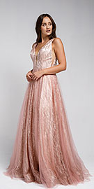 Wholesale Prom Dress item ar010. V Neck Vines Pattern Tulle Prom Gown.