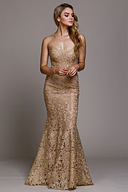 Wholesale Prom Dress item ar015. Embroidered Criss-Cross Back Fitted Prom Gown.