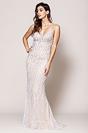 Wholesale Prom Dress item asu062. Sequin Beaded Prom Gown with V Neckline.