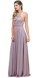 Wholesale Prom Dress item p2092. Embroidered Bodice High Neck Long Chiffon Prom Formal Dress.