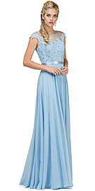 Wholesale Prom Dress item p2121. Embroidered Mesh Bodice Long Chiffon Prom Formal Dress.