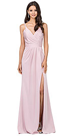 Wholesale Prom Dress item p2172. Deep V-Neck Pleated Bust Long Satin Formal Evening Dress.