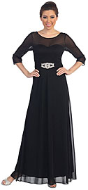 Wholesale Prom Dress item p8630. Sheer Neck Bejeweled Waist Long Formal MOB Dress. Sheer Neck & Sleeves Bejeweled Waist Long Formal Mother of the Bride Dress. Sweetheart neck on the inside lining with sheer three quarter length sleeves & also the neckline in front & back. Belt like accent on the ruched waistband with rhinestones buckle also. V-shape back with zipper closure. Imported.