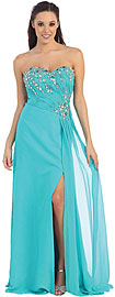 Wholesale Prom Dress item p8642. Strapless Rhinestones Bust Long Formal Prom Dress. Strapless Beaded Bust Long Formal Evening Dress. Sweetheart neck bust is exquisitely decorated with rhinestones Bodice is shirred diagonally & gathered at the side of the dress with sash hanging over the long slit. Bustier style back straps with zipper closure. Imported.