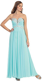 Wholesale Prom Dress item p8712. Strapless Beaded Bust Formal Evening Prom Dress. Strapless Beaded Bust Formal Evening Prom Dress. Empire cut shirred bust has beaded floral lace on the bodice. Deep v-neck with mesh in the middle of the bust. Back zipper closure. Imported.