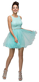 "Wholesale Prom Dress item p9126. Floral Bust Babydoll Short Tulle Homecoming Party Dress. Floral Embroidered Bust Tulle Skirt Short Homecoming Party Dress. Scoop neck sleeveless dress has floral embroidered pattern at the bodice all around with cut out back. Bejeweled waist adds that extra bling to this homecoming or formal party dress. Ruffled hem layered tulle skirt gives babydoll look & cutout back lets you show off your sassy side. 35"" long dress is polyester tulle & imported."