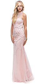 Wholesale Prom Dress item p9839. Glamorous Halter Open Back Beaded Prom Dress.