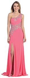 Wholesale Prom Dress item pc3272. . One Shoulder Web Beaded Pattern Long Prom Pageant Dress. Exquisite web like beads & sequins pattern on sheer fabric at neckline, diagonally at the waist & back also. Front slit at the dress which has little train at the back. Side zipper closure. Imported.