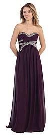 Wholesale Prom Dress item pc6909. Strapless Empire Beaded Bust Long Formal Prom Dress. Strapless Empire Beaded Bust Long Formal Prom Dress. Beaded lace embellishment in iridescent style on the shirred bust. Floor length skirt has sweetheart neckline with back zipper closure. Imported.