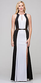 Wholesale Prom Dress item s17212. High Neck Color Block Mesh Insert Long Formal Evening Dress.