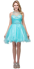 Wholesale Prom Dress item s17244. High Neck Bejeweled Bodice Mesh Short Homecoming Dress.