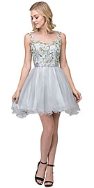 Wholesale Prom Dress item s17267. Floral Embroidery Mesh Top Short Tulle Homecoming Dress.
