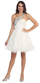 Wholesale Prom Dress item s5115. Sequined One Shoulder Tulle Short Party Prom Dress . Sequined One Shoulder Shirred Bust Ruffled Skirt Short Party Prom Dress. Broad shoulder strap runs diagonally which is all sequined & beaded in contrasting beads. Bodice is all shirred & multi layered skirt in tulle has ruffled hem. Imported.