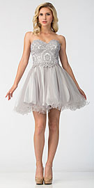 Wholesale Prom Dress item s6413. Strapless Beaded Lace Top Tulle Short Homecoming Dress.