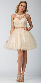 Wholesale Prom Dress item s6417. Lace High Neck Top Sheer Waist Babydoll Homecoming Dress.